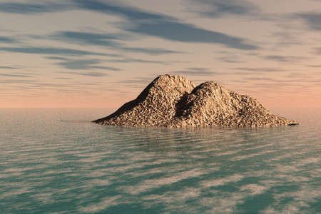 An island jutting out from the froth of the sea.