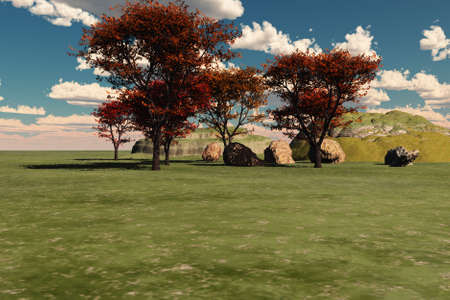 hillside: Peaceful hillside with trees and boulders. Stock Photo