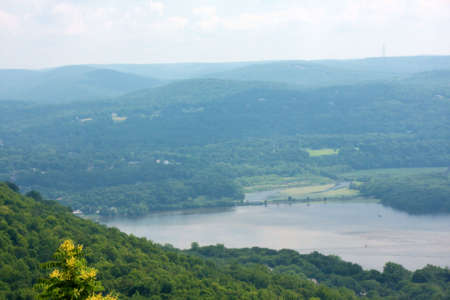 settles: Hazy day settles over the Hudson River Valley. Stock Photo