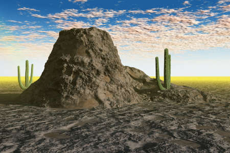 Mound in desert with cacti at two locations. Stok Fotoğraf