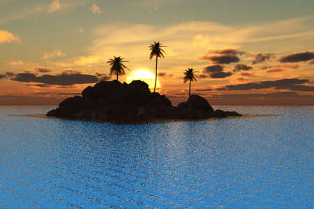 Beautiful tropical sunset over an island and the sea. photo