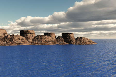 A rocky island area out at sea. photo