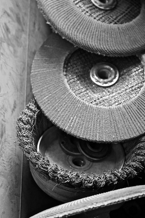 Grinder wheels in box black and white Reklamní fotografie