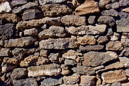 Rock Wall Made from Lava Stones and Rock Stok Fotoğraf