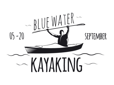 Kayaking poster. Man floating kayak.