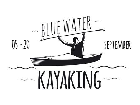 canoe paddle: Kayaking poster. Man floating kayak.