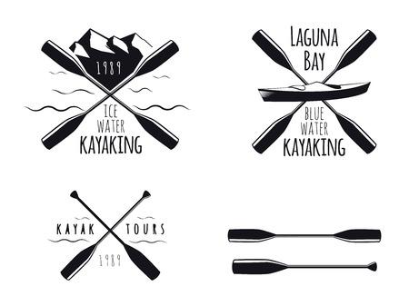 ocean kayak: Conjunto de kayak emblemas, insignias e iconos Vectores
