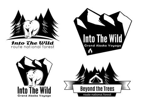 wilderness: Set of vintage camping wilderness adventure badges Illustration