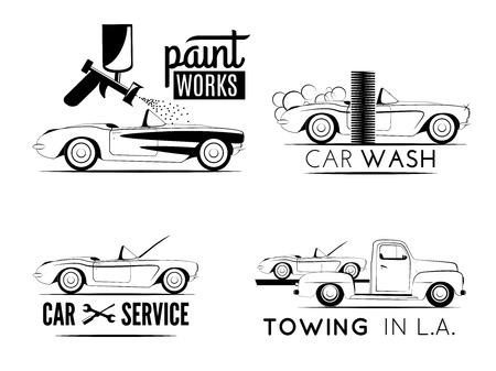 autolavaggio: Insieme dei contrassegni auto di servizio. Servizio di riparazione, lavaggio auto e rimorchio emblemi Vettoriali