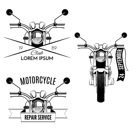 Set of vintage motorcycle labels. Repair service emblems and motorcycling clubs Illustration