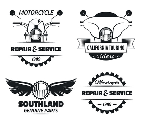 Set of vintage motorcycle labels. Motorcycle engineering repair service and touring motorcycle club emblems