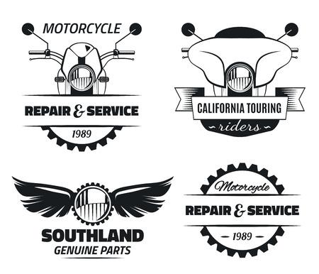 Set of vintage motorcycle labels. Motorcycle engineering repair service and touring motorcycle club emblems