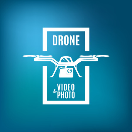 camera: Drone emblem on blue mesh background. Drone photo video.