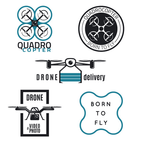 Vector set of drone labels, badges and design elements. Quadrocopter flying camera, flight clubs and delivery. Иллюстрация