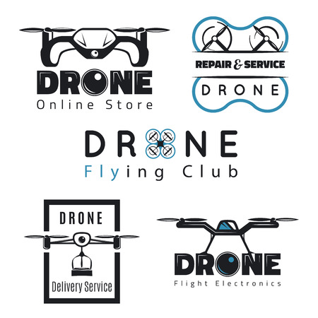 Vector set of drone labels, badges and design elements. Quadrocopter online store, repair service and delivery service.