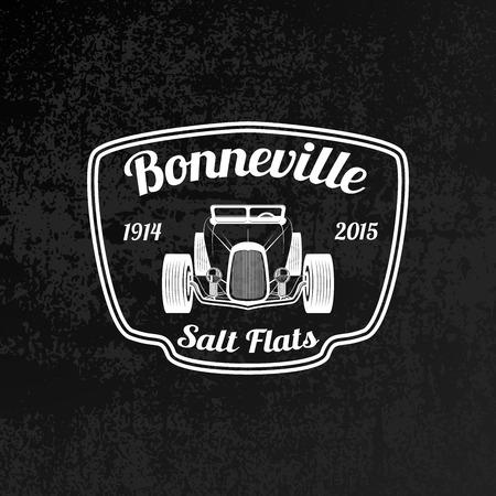 musculo: Emblema de la vendimia del coche de carreras en el fondo del grunge. Salinas de Bonneville Icono Speadway.