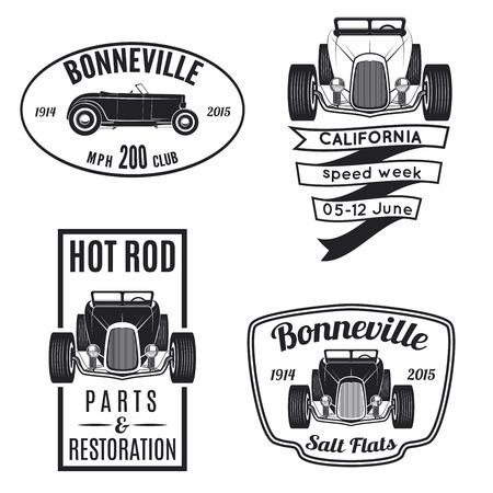 garage automobile: Vector set d'ic�nes de hot rod vintage. Pi�ces de Hot Rod et la restauration, Bonneville speadway ic�nes Illustration