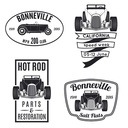 old cars: Vector set of vintage hot rod icons. Hot rod parts & restoration, Bonneville speadway icons