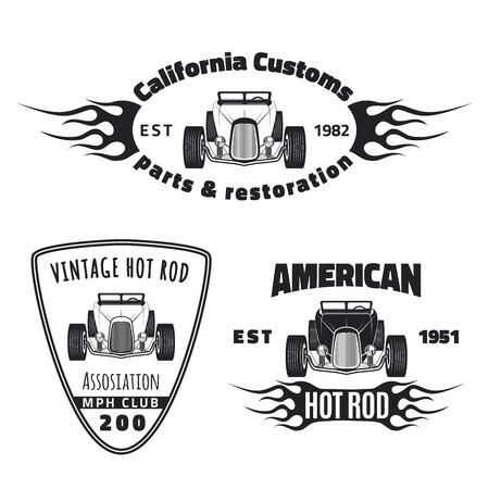 hot wheels: Set of vintage hot rod labels. Hot rod club and restoration emblems.
