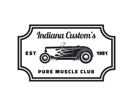 automobile: Vintage hot rod club emblem.