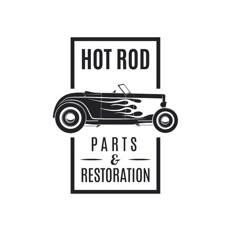 Vintage vecor hot rod icon. Hot rod Parts Restoration.