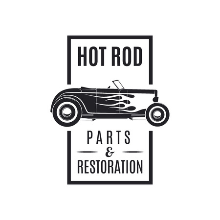 custom car: Vintage vecor hot rod icon. Hot rod Parts Restoration.