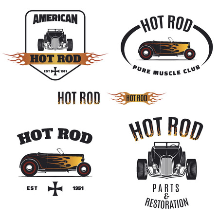 hot: Set of hot rod style labels, emblems and icons