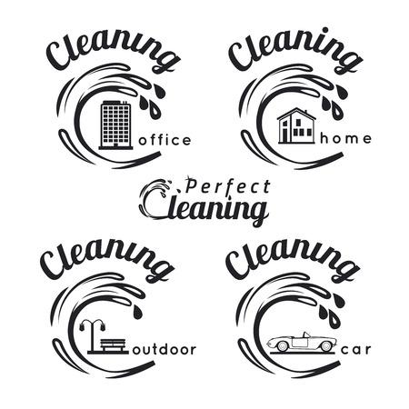 servicio domestico: Conjunto de emblemas de servicios de limpieza, etiquetas y elementos diseñados. Limpieza del hogar, limpieza de oficinas, limpieza de coches y los iconos de limpieza al aire libre