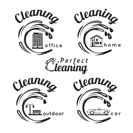 cleaning: Set of cleaning service emblems, labels and designed elements. Home cleaning, office cleaning, car cleaning and outdoor cleaning icons