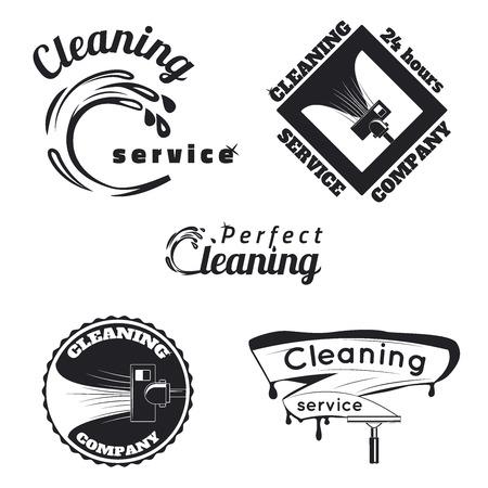 servicio domestico: Conjunto de emblemas de servicios de limpieza vintage, etiquetas y elementos diseñados.