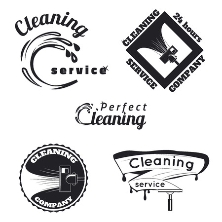 water sanitation: Set of vintage cleaning service emblems, labels and designed elements.