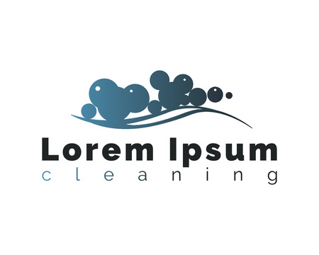 Cleaning logo on white background. Soap foam with bubbles