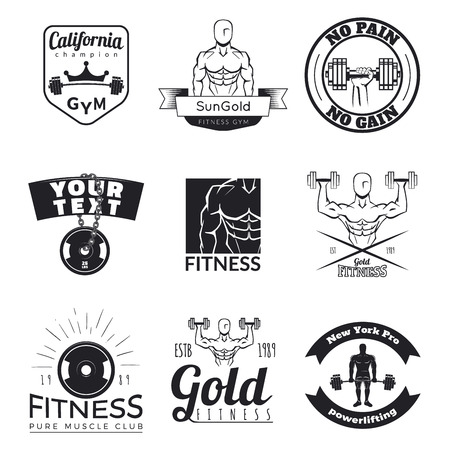 fitness equipment: Set of fitness emblems isolated on white background. Vintage gym logo templates.