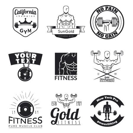 Set of fitness emblems isolated on white background. Vintage gym logo templates.