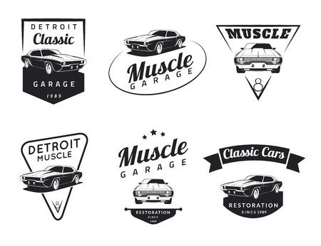 mecanico automotriz: Conjunto de clásico muscle car emblemas, insignias e iconos. Servicio de reparación de automóviles y de restauración de elementos de diseño