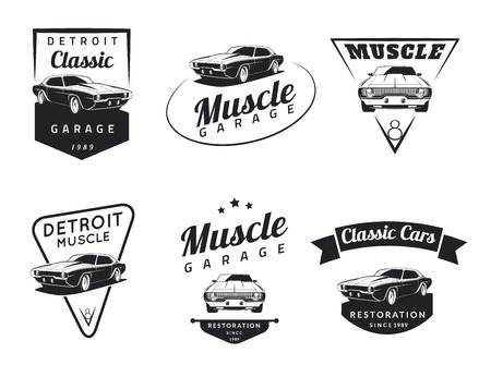 workshop: Set of classic muscle car emblems, badges and icons. Service car repair and restoration design elements