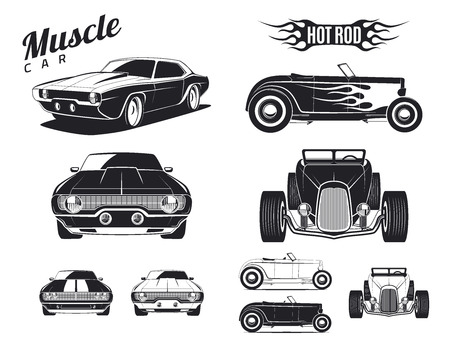 front side: Set of muscle car and hot rod tamplates for icons and emblems isolated on white background. Front view, side view and isometric view.