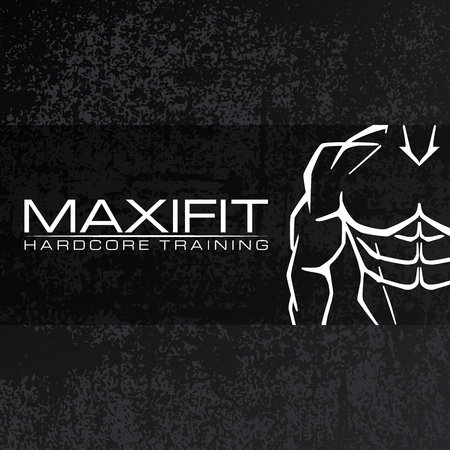 black grunge background: Bodybulider silhouette vector icon design template. Sport fitness club icon on black grunge background.