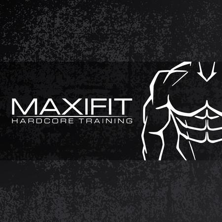 Bodybulider silhouette vector icon design template. Sport fitness club icon on black grunge background.