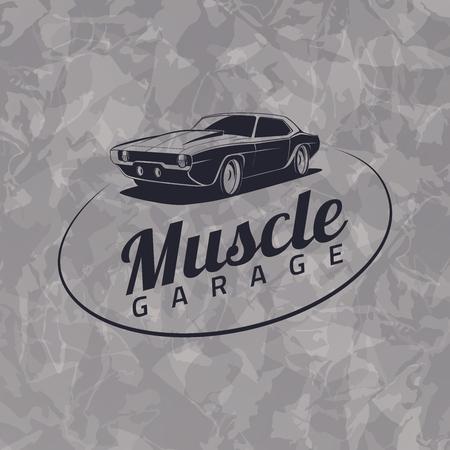 musculo: Icono del coche del músculo en el fondo gris grunge