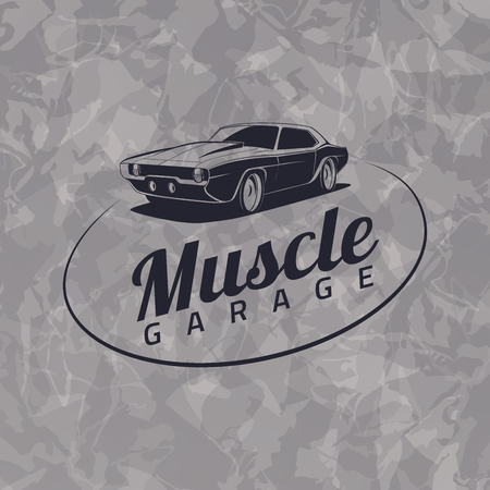 muscle: Muscle car icon on grunge gray background Illustration