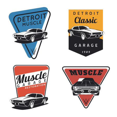 hot rod: Set of classic muscle car emblems, badges and icons. Service car repair, restoration  and car club design elements