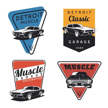 cổ điển: Thiết lập của cổ điển chiếc xe cơ bắp huy hiệu, phù hiệu và biểu tượng. Dịch vụ sửa chữa xe, phục hồi và câu lạc bộ xe hơi yếu tố thiết kế Hình minh hoạ