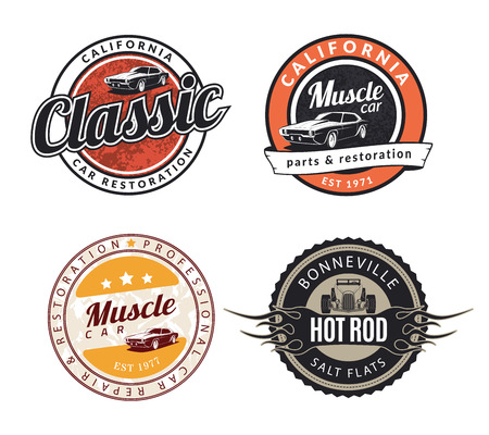Set of classic muscle car emblems, badges and signs. Service car repair, restoration  and car club design elements. Hot rod sign.