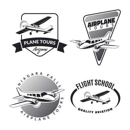 flight: Set of vintage airplane emblems, badges and icons Illustration