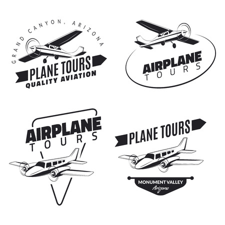 Set of vintage airplane emblems, badges and icons 矢量图像
