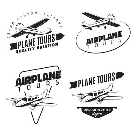 throttle: Set of vintage airplane emblems, badges and icons Illustration