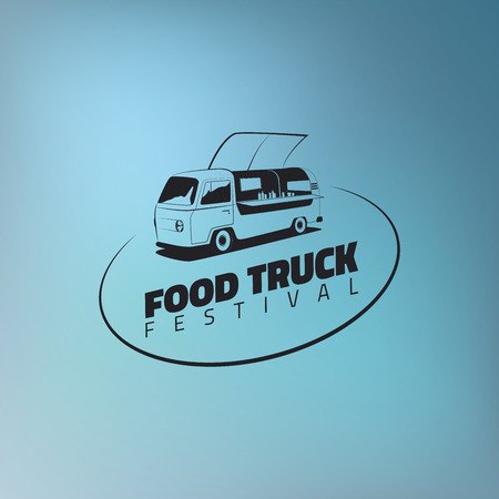 urban street: Food truck icon on gradient blue background. Urban, street food illustrations and graphics.