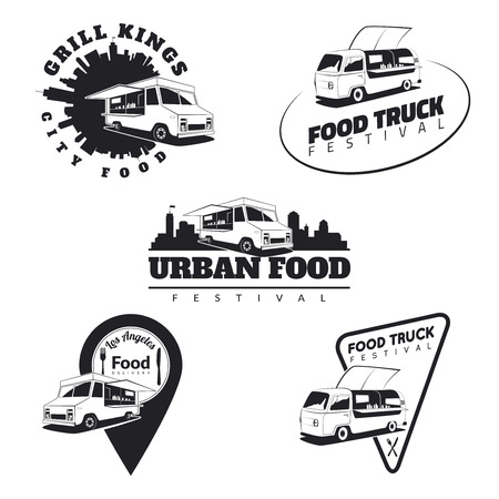 camion: Conjunto de camiones de alimentos emblemas, iconos e insignias. Urbano, ilustraciones de comida callejeros y gráficos. Vectores