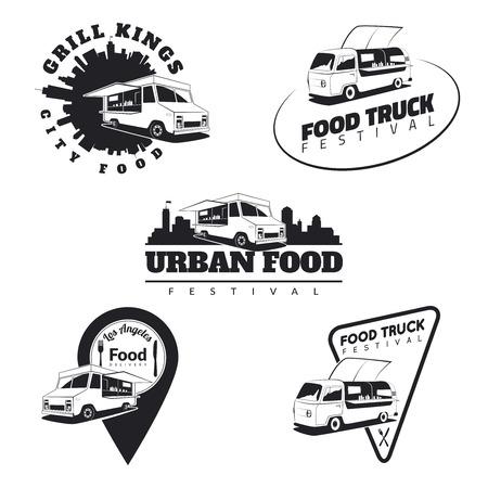 cibo: Set di camion cibo emblemi, icone e distintivi. Urbano, strada illustrazioni alimentari e grafica. Vettoriali